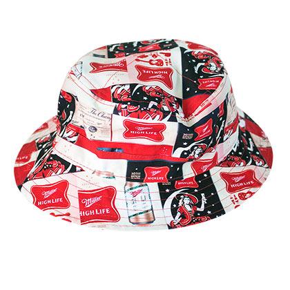ee7baa31c1988 MILLER High Life All Over Logos Bucket Hat