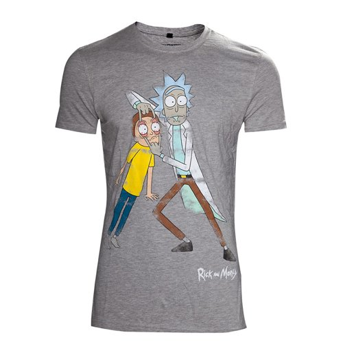 RICK AND MORTY Men's Crazy Eyes Distressed T-Shirt, Extra Large, Grey
