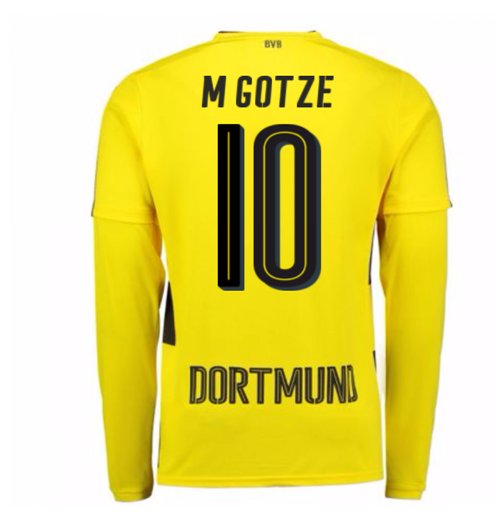 2017-18 Borussia Dortmund Long Sleeve Home Shirt (M Gotze 10)