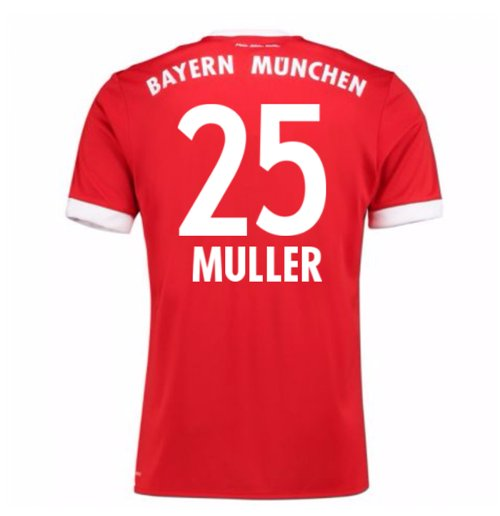 2017-18 Bayern Munich Home Short Sleeve Shirt (Muller 25)