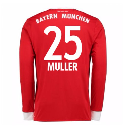 2017-18 Bayern Munich Home Long Sleeve Shirt (Kids) (Muller 25)