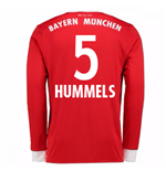 2017-18 Bayern Munich Home Long Sleeve Shirt (Hummels 5)