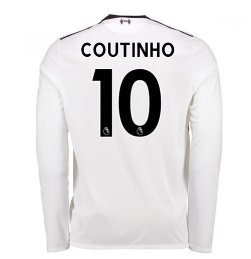 2017-18 Liverpool Away Long Sleeve Shirt (Coutinho 10) - Kids