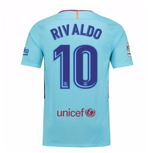 2017-2018 Barcelona Away Shirt (Rivaldo 10) - Kids