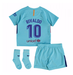 2017-2018 Barcelona Away Baby Kit (Rivaldo 10)