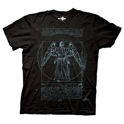 DOCTOR WHO Vitruvian Angel Black Tee Shirt