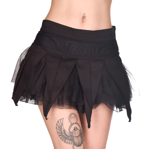 Black Pistol Drape Mini Skirt Denim