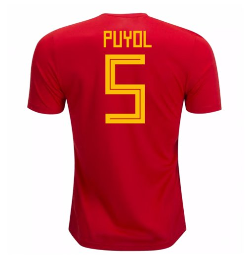 2018-19 Spain Home Shirt (Puyol 5) - Kids
