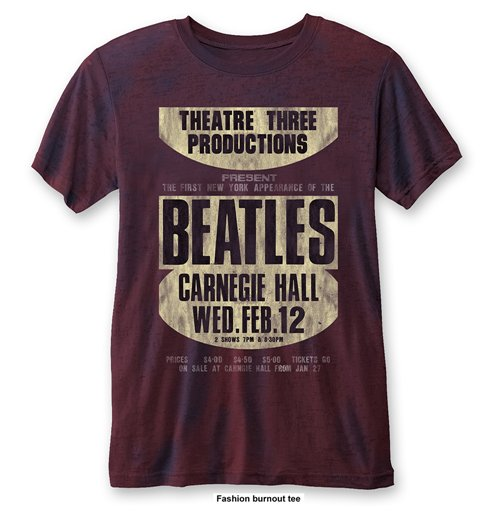 The Beatles Men's Fashion Tee: Carnegie Hall (Burn Out)