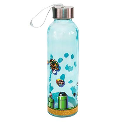 Super Mario Bros Level Up Glass Water Bottle For Only 163