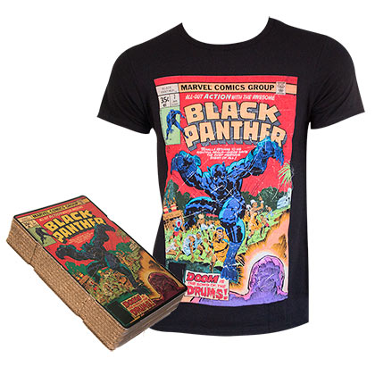 BLACK PANTHER Comic Cover Boxed Black Tee Shirt