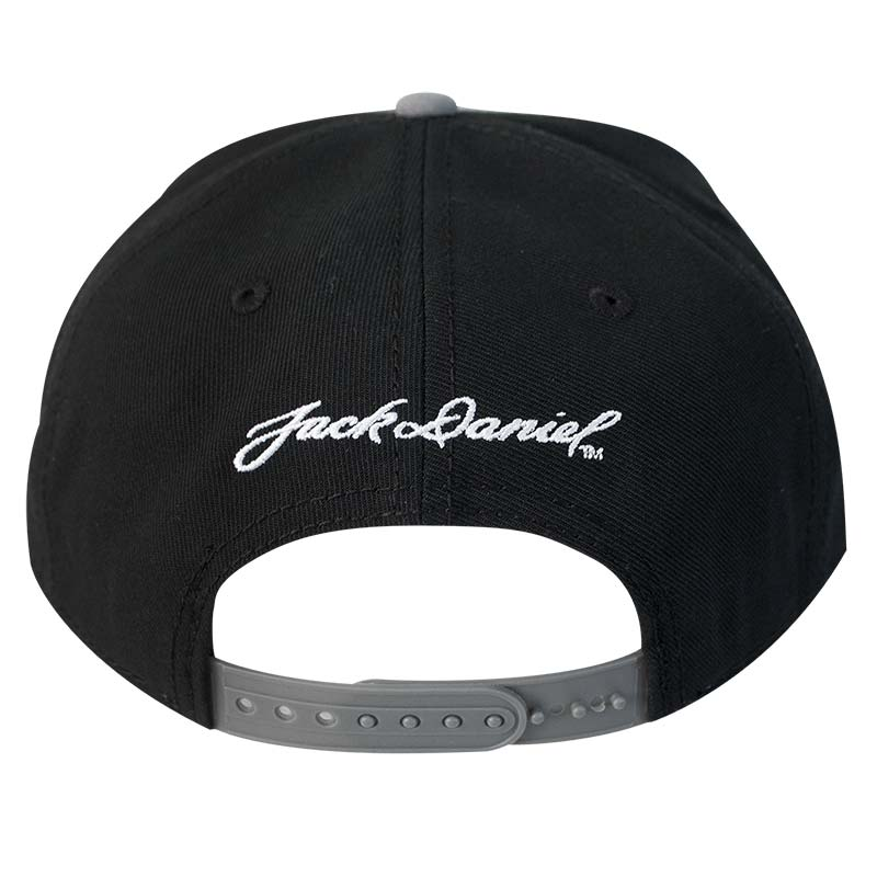 JACK DANIELS Flat Brim Black and Grey Snapback Hat