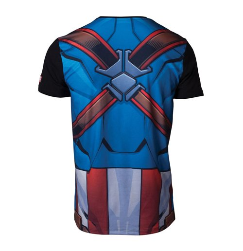 MARVEL COMICS Captain America Men's Sublimation T-Shirt, Medium, Multi-colour