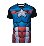 MARVEL COMICS Captain America Men's Sublimation T-Shirt, Extra Large, Multi-colour