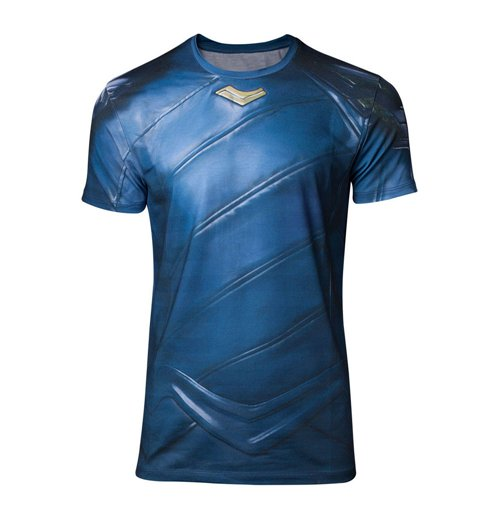 MARVEL COMICS Thor Ragnarok Men's Loki Armor Sublimation T-Shirt, Medium, Blue/Black