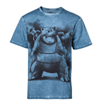 POKEMON Men's Blastoise Oil Washed T-Shirt, Large, Blue