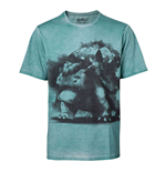 POKEMON Men's Venusaur Oil Washed T-Shirt, Large, Turquoise