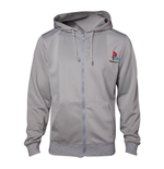 SONY Playstation Men's PS One Full Length Zipper Hoodie, Extra Extra Large, Grey