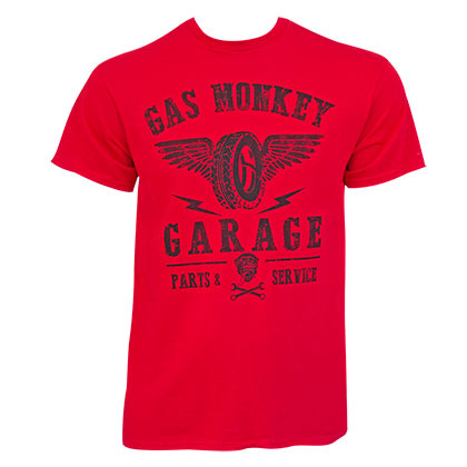 GAS MONKEY GARAGE Wings Logo Red Tee Shirt