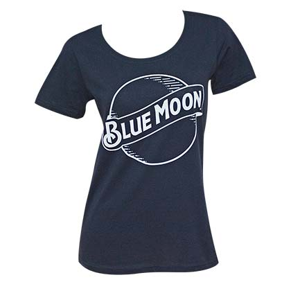BLUE MOON Round Logo Lades Navy Blue Tee Shirt