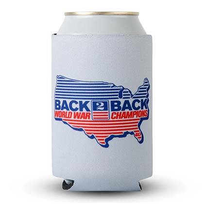 Back to Back World War Champs Rowdy Gentleman Grey Can Cooler