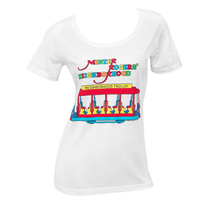Mister Rodgers Neighborhood Trolley Women's White Tee Shirt