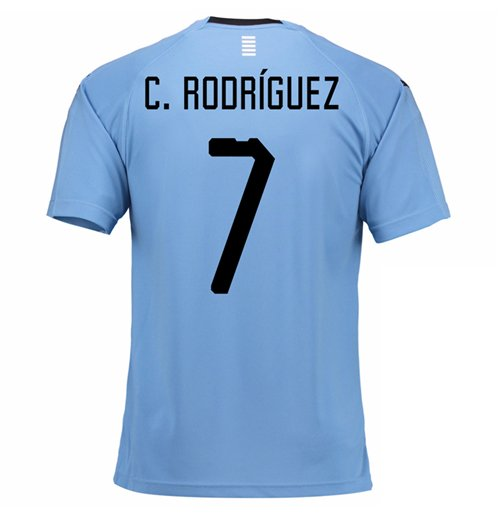 2018-2019 Uruguay Home Football Shirt (C. Rodgrizuez 7)