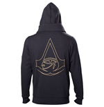 ASSASSIN'S CREED Origins Men's Gold Crest Logo Double Layered Full Length Zipper Hoodie, Large, Black