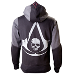 ASSASSIN'S CREED Black Flag Men's Full Length Zipper Hoodie, Extra Large, Black/Grey