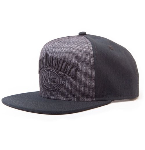 JACK DANIEL'S Embroidered Logo Snapback Baseball Cap, Black/Grey