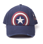MARVEL COMICS Captain America Embroidered Vintage Shield Adjustable Cap, Blue