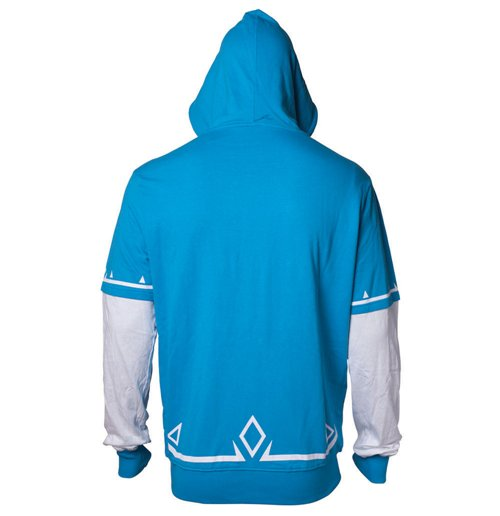 NINTENDO Legend of Zelda Breath of the Wild Men's Link Full Length Zipper Hoodie, Extra Large, Blue/White