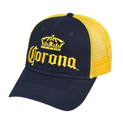 CORONA EXTRA Blue and Yellow Mesh Snapback Hat