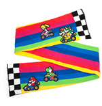 NINTENDO Super Mario Bros. Mario Kart Rainbow Road Knitted Fashion Scarf, One Size, Multi-colour
