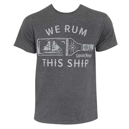 CAPTAIN MORGAN We Rum This Ship Grey Tee Shirt