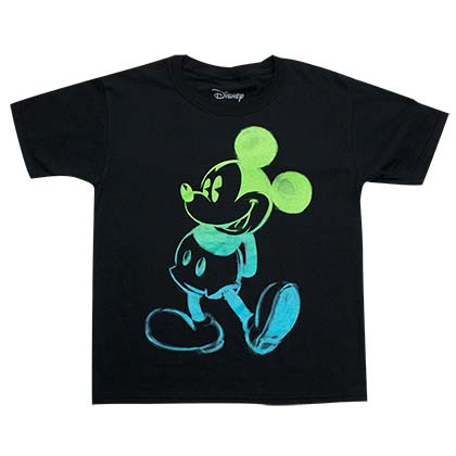 Mickey Mouse Glow In The Dark Youth Boys Black Tee Shirt