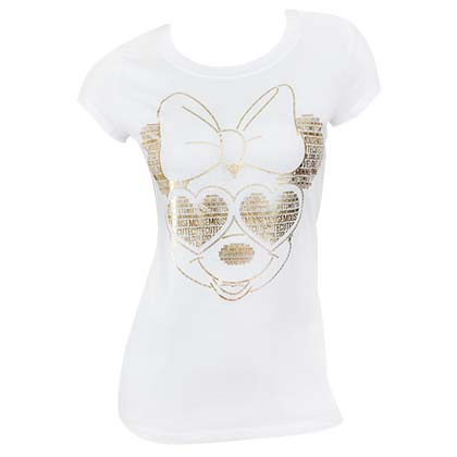 Minnie Mouse Gold Foil Women's White Tee Shirt
