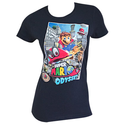 Super MARIO Odyssey Flying Ladies Navy Blue Tee Shirt