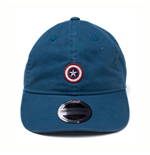 MARVEL COMICS Captain America Embroidered Shield Stone Washed Denim Dad Cap, Blue