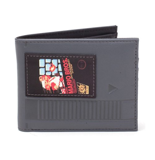NINTENDO Super Mario Bros. Cartridge Bi-fold Wallet, Grey/Black