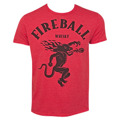 FIREBALL WHISKEY Large Dragon Logo Red Tee Shirt