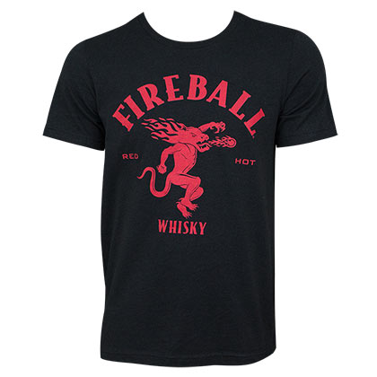FIREBALL WHISKEY Large Dragon Logo Black Tee Shirt