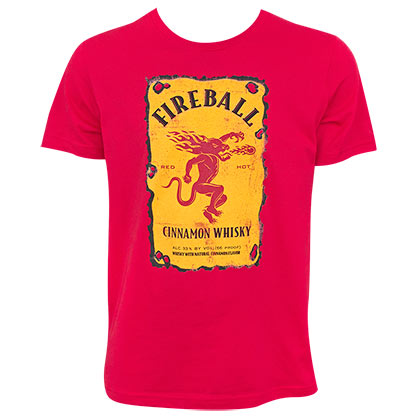 FIREBALL WHISKEY Bottle Label Logo Red Tee Shirt