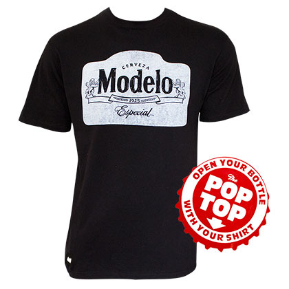 MODELO ESPECIAL Pop Top Bottle Opener Black Tee Shirt