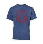 ASSASSIN'S CREED Men's Crest Logo Faux Denim T-Shirt, Small, Blue