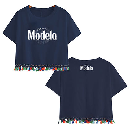 Modelo Logo Ladies Fringe Navy Blue Tee Shirt