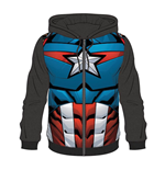 MARVEL COMICS Captain America Men's Outfit Suit Sublimation Full Length Zipper Hoodie, Medium, Multi-colour