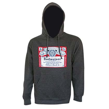 BUDWEISER Bottle Label Dark Grey Hoodie