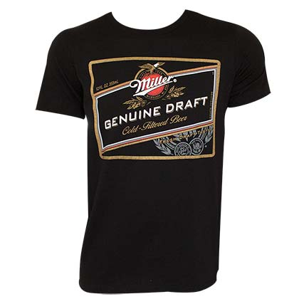 MILLER Genuine Draft Logo Black Tee Shirt