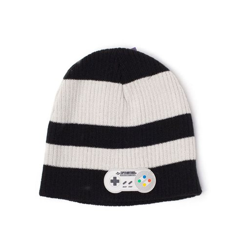 NINTENDO SNES Controller Striped Cuffless Beanie, Black/White